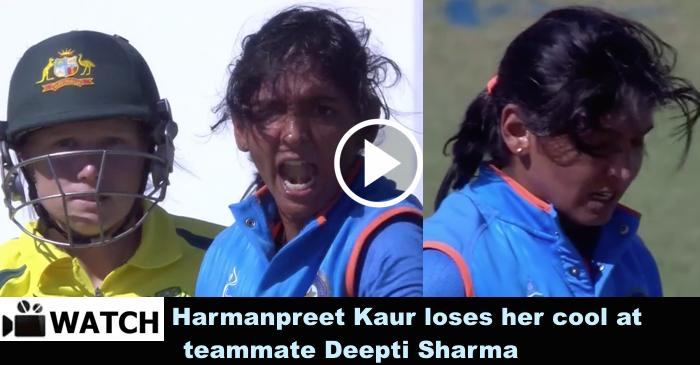 WATCH: Harmanpreet Kaur loses her cool at teammate Deepti Sharma