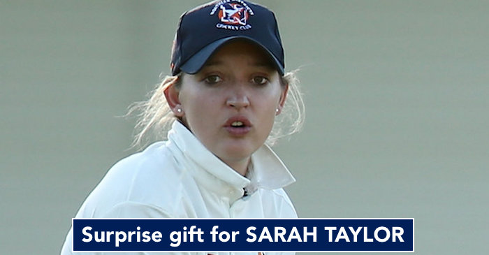 Sarah Taylor gets a surprise gift back home in England