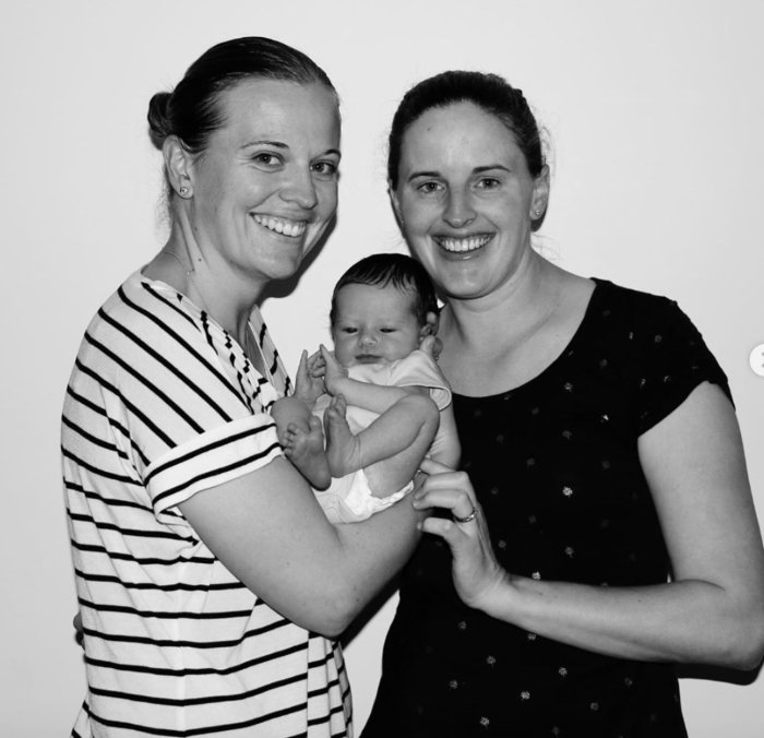 Amy Satterthwaite and Lea Tahuhu with their baby Grace